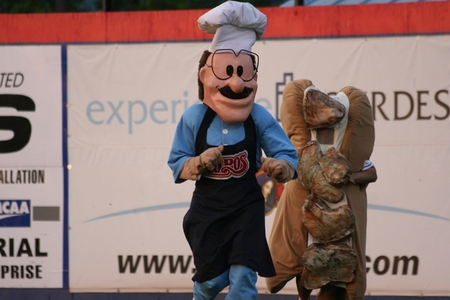 Binghamton -- Spiedie Race chef and sandwich.JPG