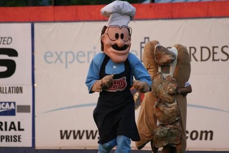 Binghamton -- Spiedie Race chef and sandwich.JPG