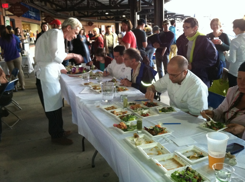 Vegan Iron Chef serving the Judges