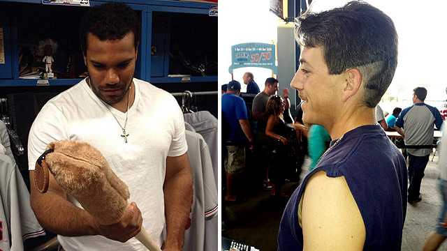"""Nellie """"Pedro Cerrano"""" Rodriguez (left) and a """"Wild Thing""""-inspired fan"""