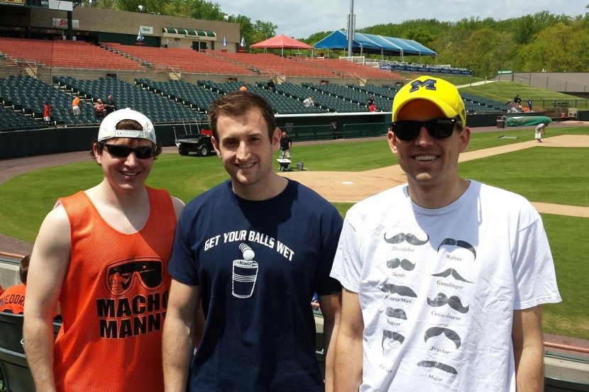 Mike Bryan (left) with friends  Andrew Renison (center) and Mark Taylor
