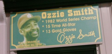 A concourse sign honoring Ozzie Smith, one of five Mobile-born Hall of Famers