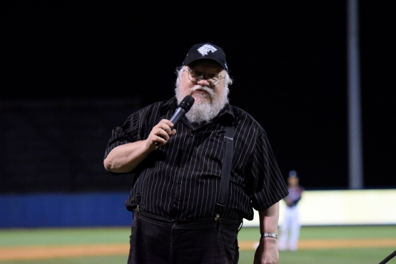 Game of Thrones creator George RR Martin reminds fans that if the Direwolves lose he will have to kill off a Stark. (Robert M Pimpsner/Pinstriped Prospects)