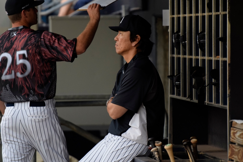 New York Yankees legend Hideki Matsui watches the game from the Direwolves dugout (Robert M Pimpsner/Pinstriped Prospects)