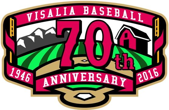 Visalia Baseball 70th Anniversary Logo
