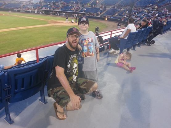 Mike and his nephew at Space Coast Stadium